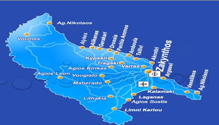 Harta Insula Zakynthos Grecia